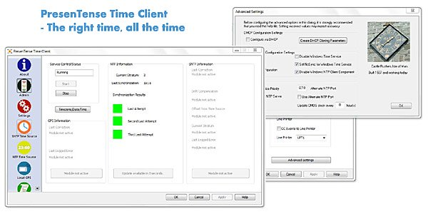 PresenTense Time Client is a time client for all versions of Windows. It synchronizes your PC system clock to a GPS or network time server. Supports e-mail and syslog alarm redundancy and can be centrally managed and configured by LanTime Analyzer.